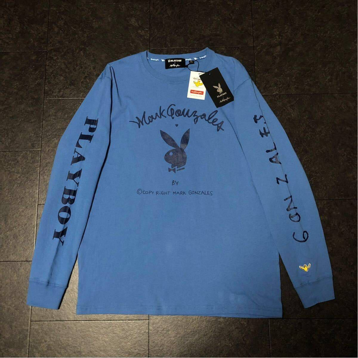 XL 定価6490円 送料無料 新品 マークゴンザレス プレイボーイ コラボ 長袖シャツ ロンT メンズ 春秋 ビッグロゴ 袖ロゴ ブルー