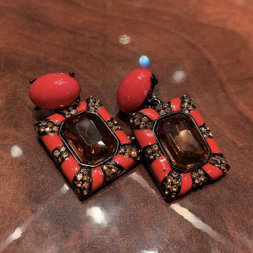 【ハンドメイド】ヴィンテージテイスト 大ぶりピアス インパクト 赤いスクエアデザイン_画像3