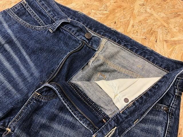 Wrangler ラングラー サイズ32 メンズ デニム ショートパンツ ロゴパッチ USED加工 ハーフパンツ ジップフライ 綿100% ライトネイビー 薄紺_画像2