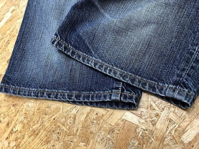 Wrangler ラングラー サイズ32 メンズ デニム ショートパンツ ロゴパッチ USED加工 ハーフパンツ ジップフライ 綿100% ライトネイビー 薄紺_画像4