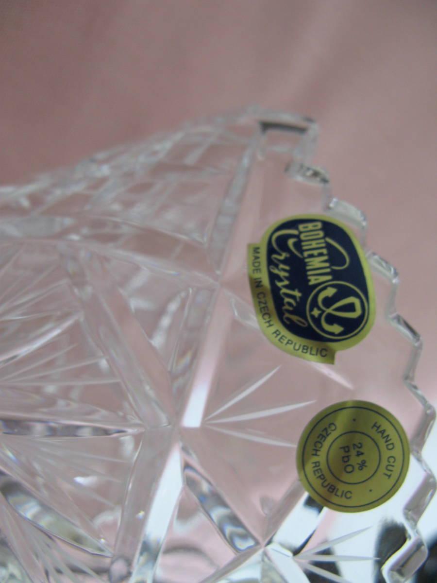 未使用 BOHEMIA CRYSTAL GLASS ボヘミア クリスタルガラス チェコ 花瓶 フラワーベース 高さ28cm  専用箱付 sc-6 / 310-92_画像6
