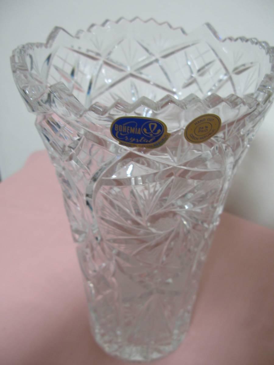 未使用 BOHEMIA CRYSTAL GLASS ボヘミア クリスタルガラス チェコ 花瓶 フラワーベース 高さ28cm  専用箱付 sc-6 / 310-92_画像4