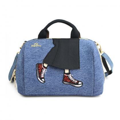 新品送料無料mis zapatos(ミスサパト)デニムスカート2wayショルダー&お財布ポシェット ブルー_画像1