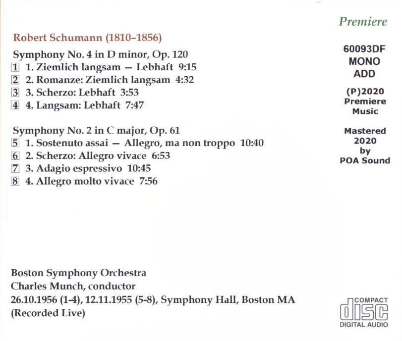 ミュンシュ/ボストン響 ライブ シューマン 交響曲第4番、第2番_画像2