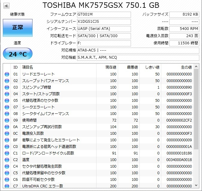 ☆中古HDD☆正常判定☆送料無料☆ 東芝 HDD750GB 2.5インチ 9.5mm No.04009