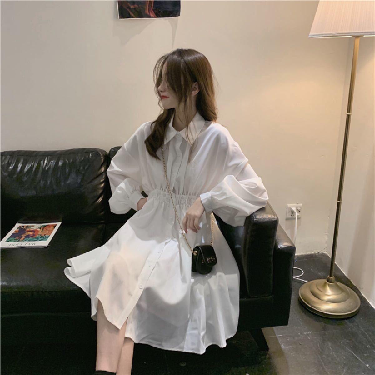シャツワンピース ワンピース シャツ 膝丈ワンピース 膝丈 韓国ファッション