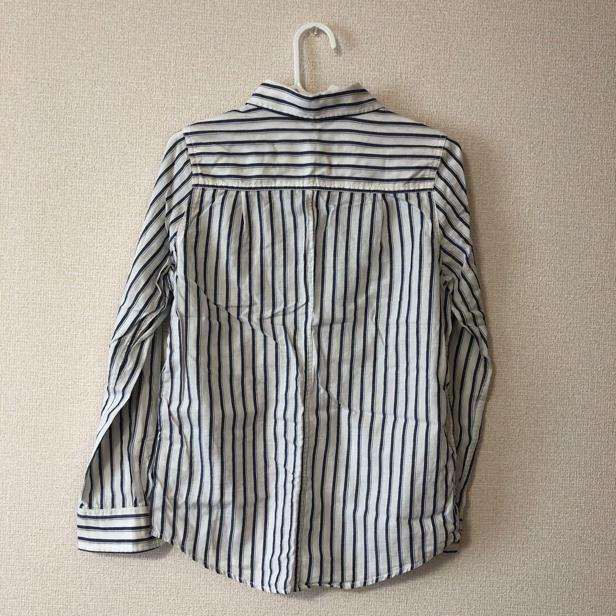 長袖シャツ ストライプ 白 Sサイズ
