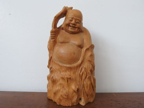 fd0075 木彫 七福神 布袋尊 高さ約20㎝ 円満 ① ヒビあり オブジェ 縁起物 和風 置物 天然木 木工工芸 彫刻_画像2