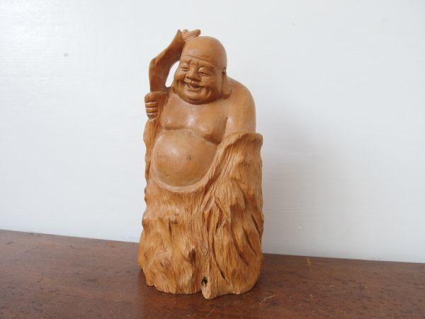 fd0075 木彫 七福神 布袋尊 高さ約20㎝ 円満 ① ヒビあり オブジェ 縁起物 和風 置物 天然木 木工工芸 彫刻_画像1