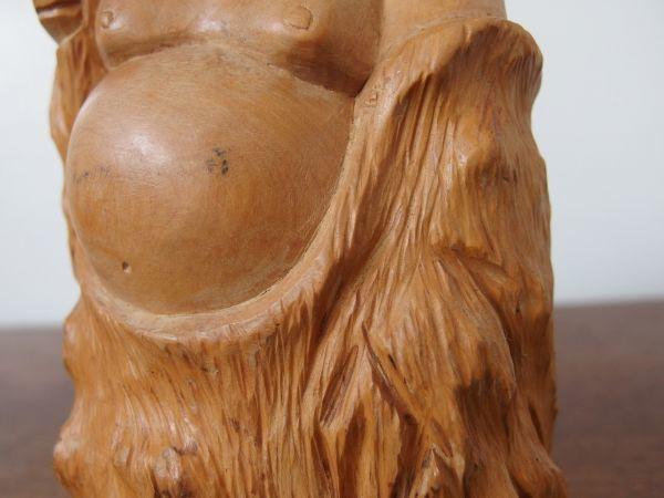 fd0075 木彫 七福神 布袋尊 高さ約20㎝ 円満 ① ヒビあり オブジェ 縁起物 和風 置物 天然木 木工工芸 彫刻_画像8