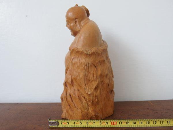 fd0075 木彫 七福神 布袋尊 高さ約20㎝ 円満 ① ヒビあり オブジェ 縁起物 和風 置物 天然木 木工工芸 彫刻_画像3