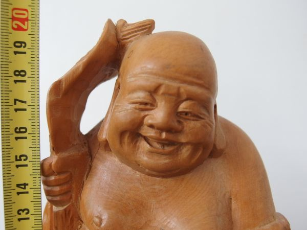 fd0075 木彫 七福神 布袋尊 高さ約20㎝ 円満 ① ヒビあり オブジェ 縁起物 和風 置物 天然木 木工工芸 彫刻_画像5