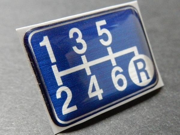 Tuningfan シフトパターン エンブレム ブルー 右下R 6MT車用 青 SPE-B602 BLUE 6速マニュアル プレート GDB GRB VAB S15 BNR34 Z33 ZF1 GE8_画像1