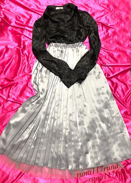 超ツルツル 超トロトロ 光沢サテン 黒ツヤ ブラウス&スカート 光沢サテン リバーシブル 女装 コスプレ 衣装 フェチ♥_画像1