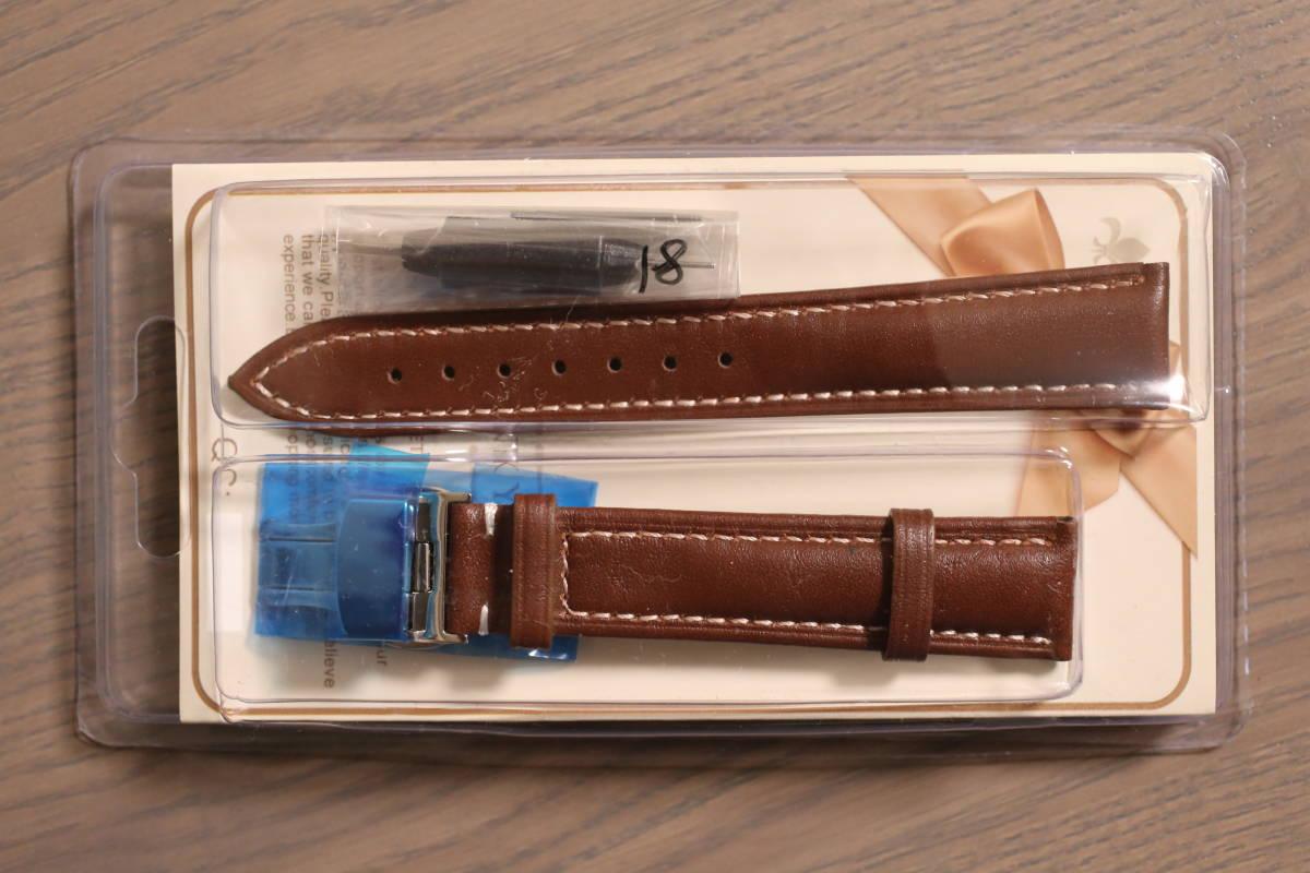 レザー 腕時計用ベルト バンド 茶色 ブラウン 18mm_画像1
