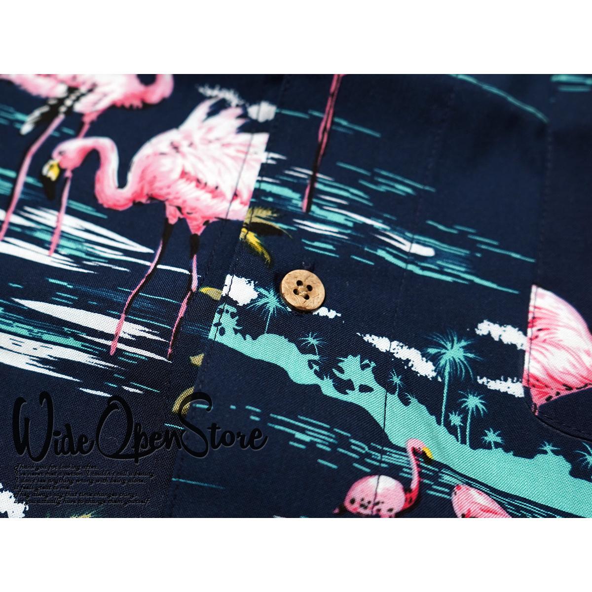 【新品】 アロハシャツ レーヨン ヤシ柄■ 5Lサイズ(4XL) / ネイビー紺28 ■大きいサイズ ボタニカル 花 オープンカラー b008_画像6