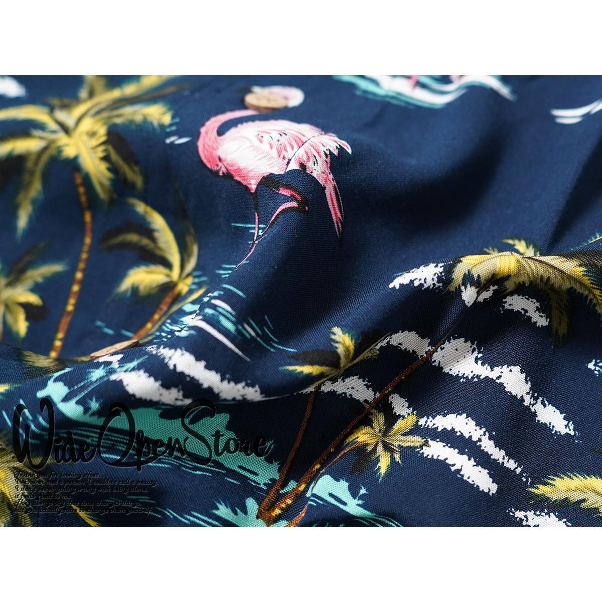 【新品】 アロハシャツ レーヨン ヤシ柄■ 5Lサイズ(4XL) / ネイビー紺28 ■大きいサイズ ボタニカル 花 オープンカラー b008_画像9