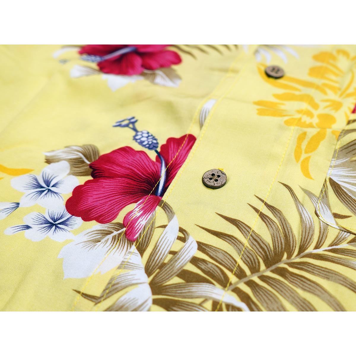 【新品】 アロハシャツ レーヨン フラワー柄■ 3Lサイズ(2XL,XXL) / イエロー黄29 ■大きいサイズ ボタニカル 花 オープンカラー b008_画像6