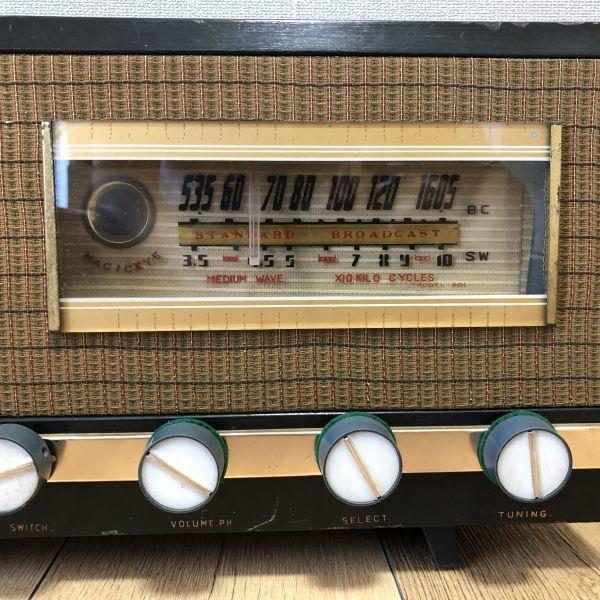 【ジャンク品】MAGICEYE STANDARD BROADCAST 真空管ラジオ ヴィンテージ 木製古ラジオ 真空管 アンティーク 骨董 雑貨 昭和レトロ_画像10