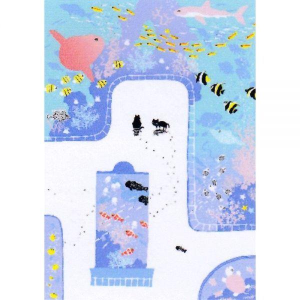 ★吉岡浩太郎『魚の国(ブラウン)』シルクスクリーン 絵画 新品 限定500部 額付き 動物画 水族館 マンボウ 熱帯魚【AHA-DK-008T】_絵