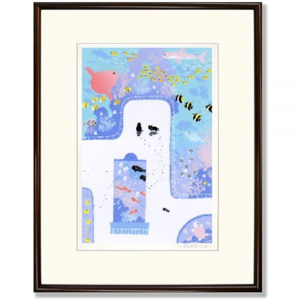 ★吉岡浩太郎『魚の国(ブラウン)』シルクスクリーン 絵画 新品 限定500部 額付き 動物画 水族館 マンボウ 熱帯魚【AHA-DK-008T】_額装