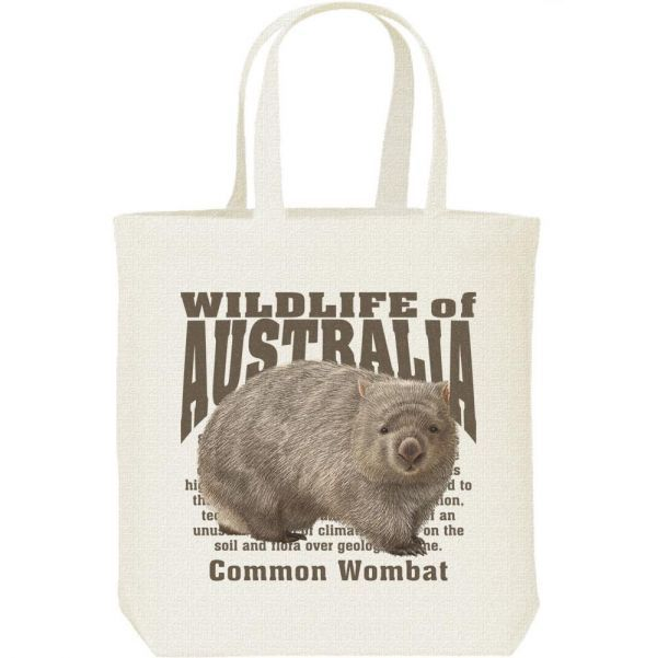 ヒメ ウォンバット(オーストラリアの動物)/キャンバスバッグ M・新品・メール便 送料無料_ヒメ ウォンバット/キャンバスバッグ・M