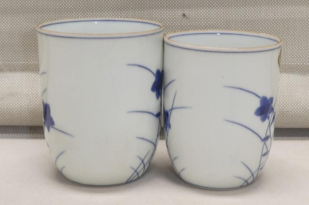 ●清水焼 秀峰 染付 組湯呑 湯のみ茶碗 ペアセット 2客 和食器 京都 茶器●汲出し_画像5