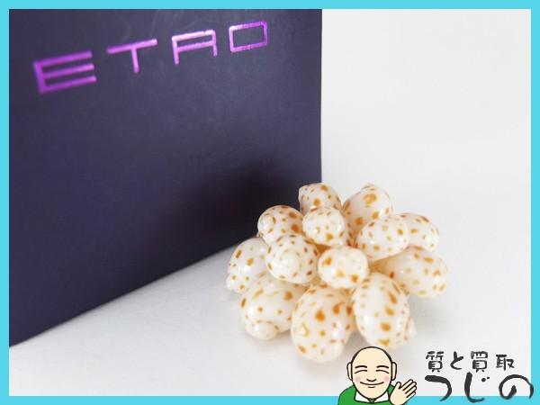 送料無料 エトロ ブローチ 貝殻 シェル フラワーモチーフ ETRO 質屋 神戸つじの_画像2