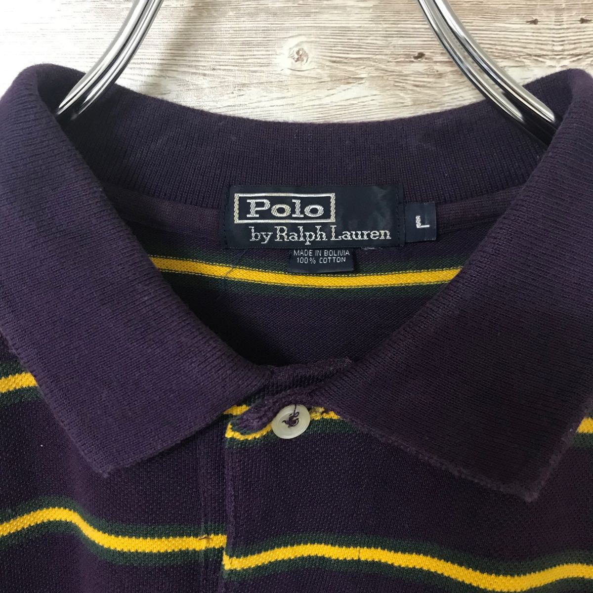 古着 ポロバイラルフローレン ポロシャツ ワンポイントロゴ 刺繍 パープル