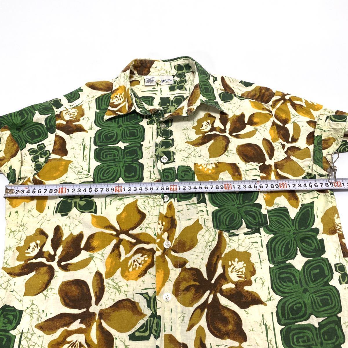 Lサイズ stitch アロハシャツ ハワイアン 柄シャツ メンズ 即決 ボタニカル 古着 アメリカ古着