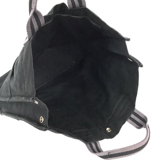 エルメス フールトゥ MM トートバッグ ハンドバッグ ボタン開閉 キャンバス ポケット有り ブラック HERMES 200502_画像3