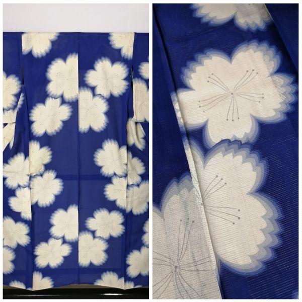 きものさらさ アンティーク 着物 絽 夏着物 青地に桜 大正ロマン モダン リメイク 材料_画像1