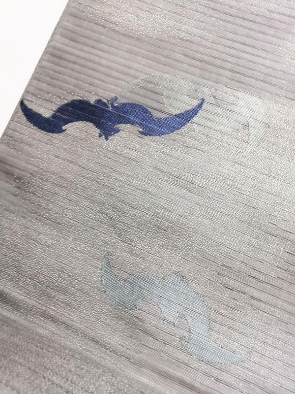 きものさらさ レア!蝙蝠柄 絽 丸帯 夏帯 コウモリ 動物柄 図変わり 正絹 大正ロマン アンティーク_画像4