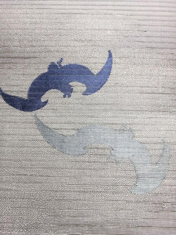 きものさらさ レア!蝙蝠柄 絽 丸帯 夏帯 コウモリ 動物柄 図変わり 正絹 大正ロマン アンティーク_画像5