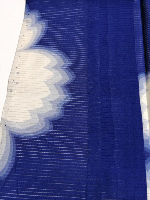きものさらさ アンティーク 着物 絽 夏着物 青地に桜 大正ロマン モダン リメイク 材料_画像8