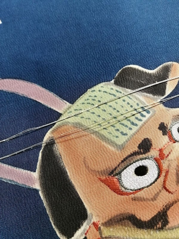 きものさらさ アンティーク 帯 染 玩具 張り子 縁起物 虎 馬 獅子頭 大正ロマン 正絹 図変わり レア_画像3