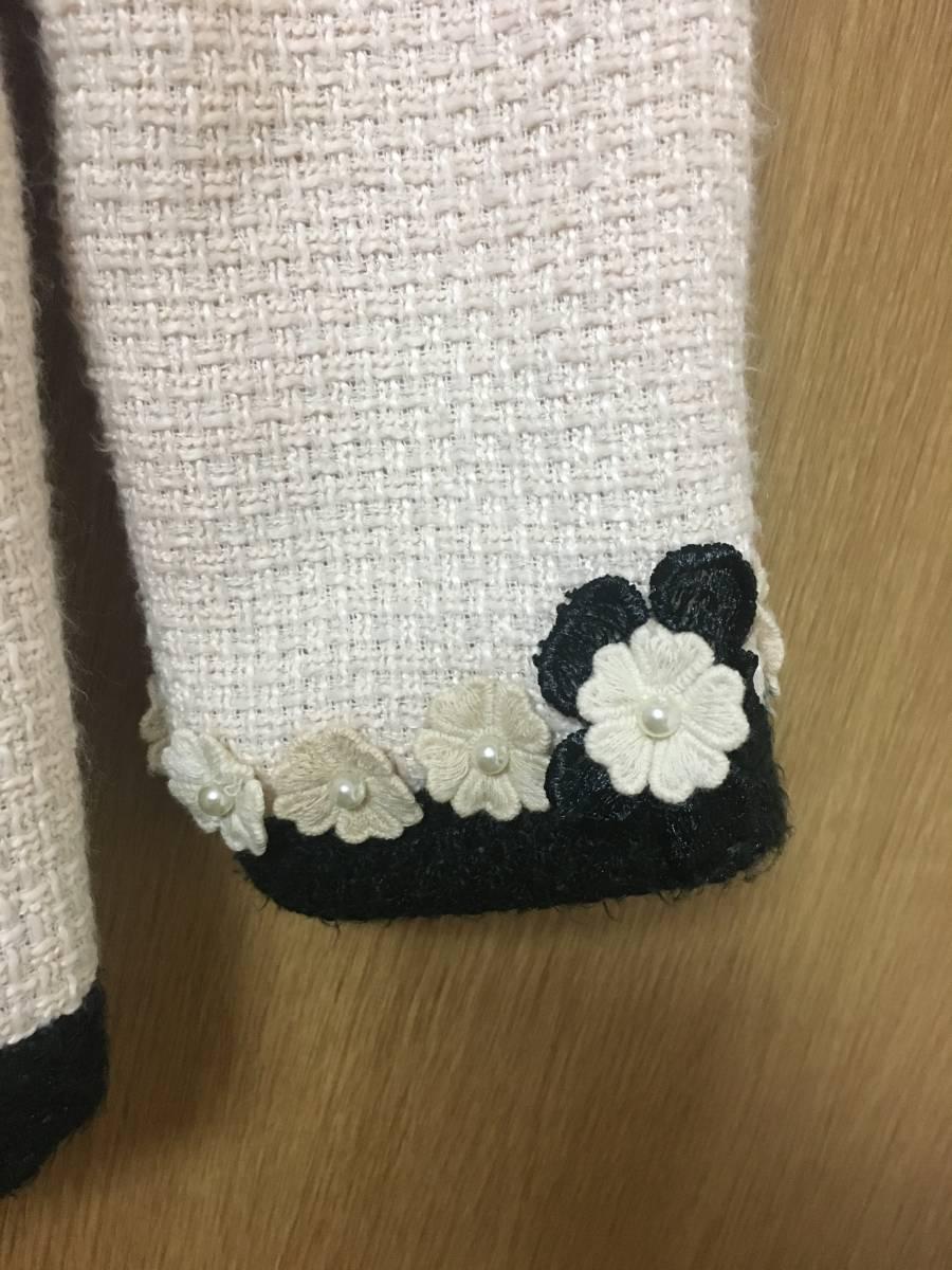 バイカラーノーカラーツイードお花柄ジャケットコートカーディガン羽織り白黒
