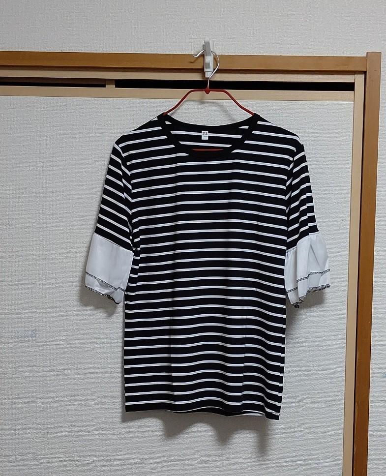 トップス レディース ボーダー カットソー Tシャツ フレア袖 XL 3L