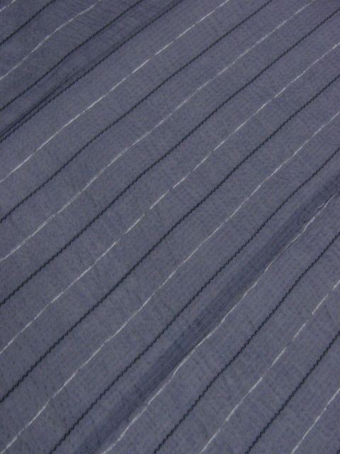 少し透ける 綿・麻 変り織生地 織の男ゆかた Lサイズ グレー・白黒色縞 新品_画像3