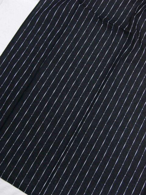 少し透ける 綿・麻 変り織生地 織の男ゆかた Lサイズ 黒・太縞 新品 _画像3