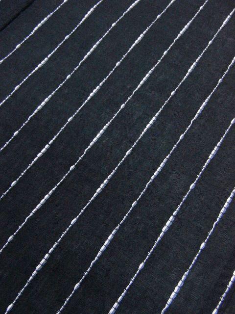少し透ける 綿・麻 変り織生地 織の男ゆかた Lサイズ 黒・太縞 新品 _画像4