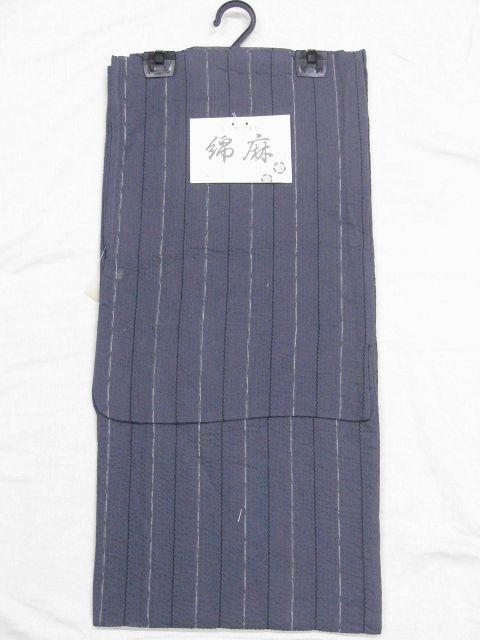 少し透ける 綿・麻 変り織生地 織の男ゆかた Lサイズ グレー・白黒色縞 新品_画像6