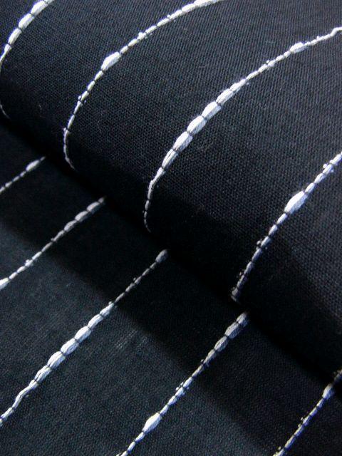 少し透ける 綿・麻 変り織生地 織の男ゆかた Lサイズ 黒・太縞 新品 _画像5