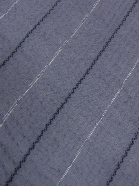 少し透ける 綿・麻 変り織生地 織の男ゆかた Lサイズ グレー・白黒色縞 新品_画像4
