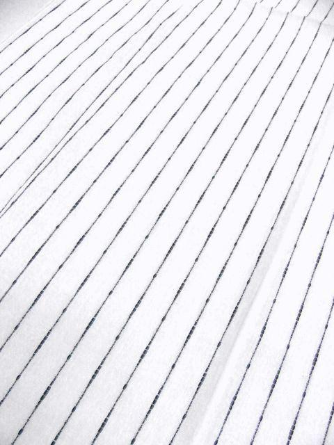 少し透ける 綿・麻 変り織生地 織の男ゆかた Lサイズ 白・太縞 新品_画像4