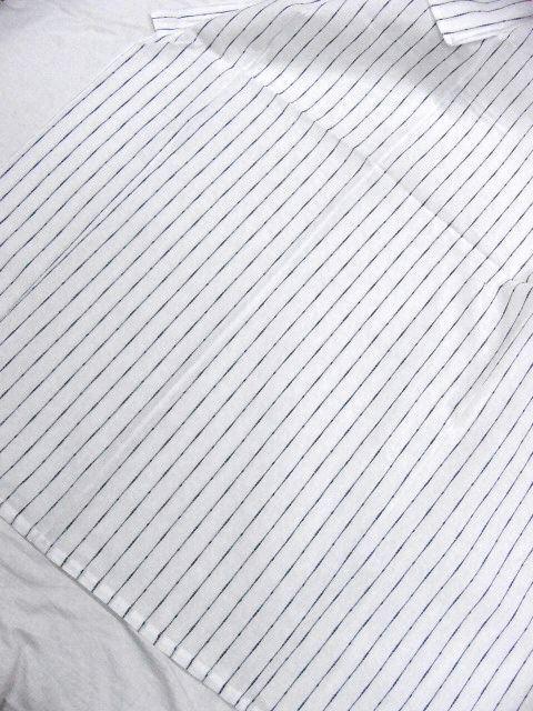 少し透ける 綿・麻 変り織生地 織の男ゆかた Lサイズ 白・太縞 新品_画像3