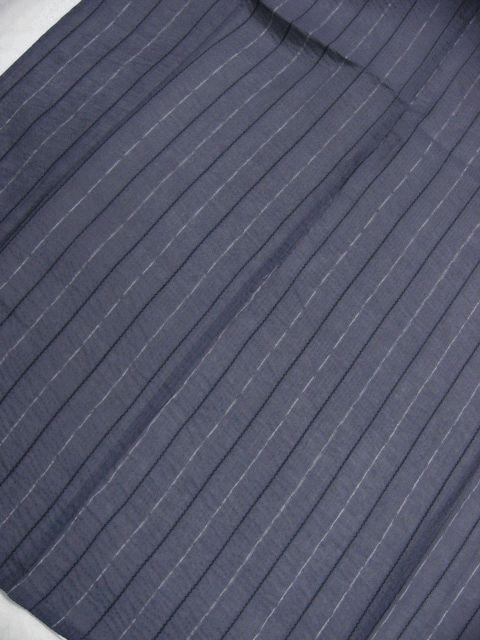 少し透ける 綿・麻 変り織生地 織の男ゆかた Lサイズ グレー・白黒色縞 新品_画像2