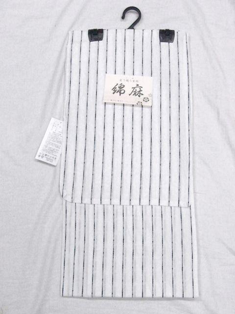 少し透ける 綿・麻 変り織生地 織の男ゆかた Lサイズ 白・太縞 新品_画像2