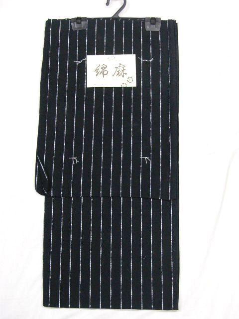 少し透ける 綿・麻 変り織生地 織の男ゆかた Lサイズ 黒・太縞 新品 _画像2