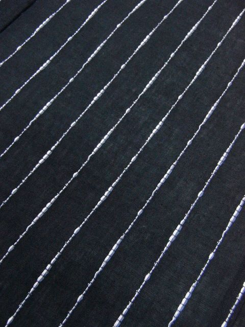 少し透ける 綿・麻 変り織生地 織の男ゆかた LLサイズ 黒・太縞 新品_画像4